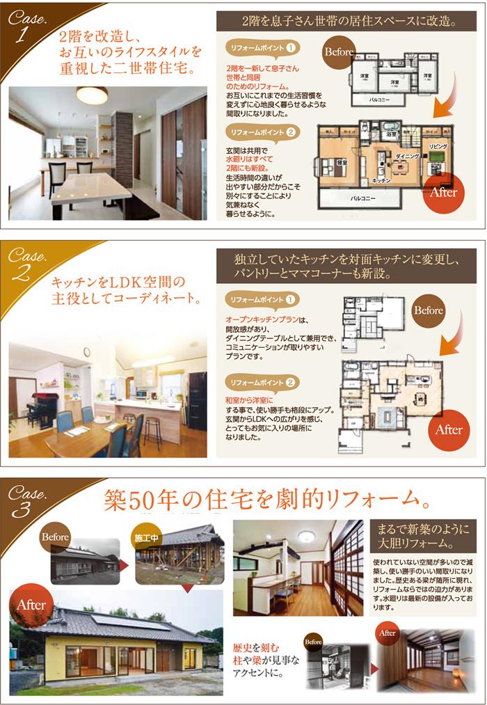 グランディリフォームのリフォームケース。case1.1 2階を改造し、お互いのライフスタイルを重視した二世帯住宅。case.2 キッチンをLDK空間の主役としてコーディネート。case.3 築50年の住宅を劇的リフォーム。サイトに多数事例を紹介しています!